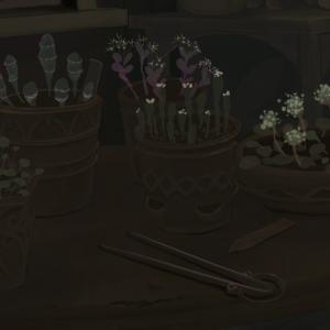 研究室を描く ~円テーブルの鉢植えを描く~