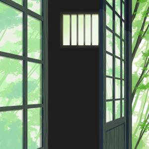古民家ポートレート背景 ~後景の木々とガラスの映り込み~
