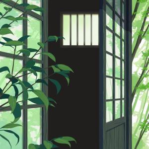古民家ポートレート背景 ~手前の植物~
