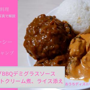 [ディズニー再現レシピ] ハンバーグBBQデミグラスソース、チキンのトマトクリーム煮、ライス添え @東京ディズニーシー・ユカタンベースキャンプ 料理を紹介