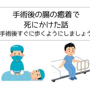 手術後の腸の癒着で死にかけた話【手術後すぐに歩くようにしましょう】