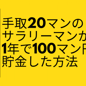 【絶対必要】手取り20万でも一年で100万円貯金した方法【貯める力】