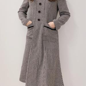 【韓国ファッション】レトロ可愛い千鳥柄ワンピース