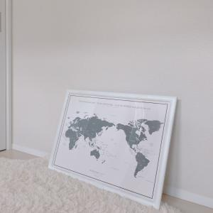 どんなお部屋にも合うグレーの世界地図