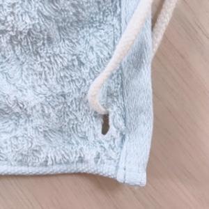 園タオルの作り方・ボタンホールでタオルに紐を付ける