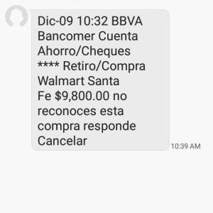 注意喚起:BBVAを装った詐欺メッセージ