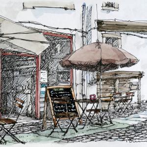 カスターニャ色のカフェ