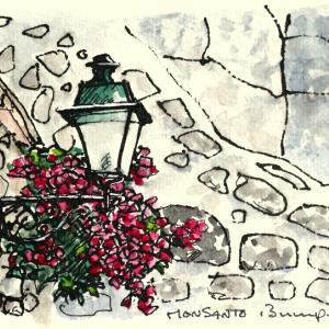 ブーゲンビリアと街燈