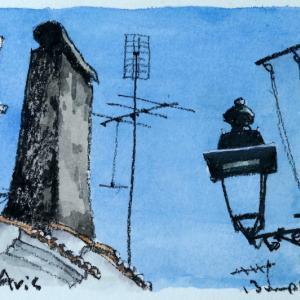 街燈と煙突と洗濯物