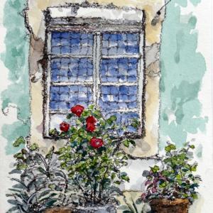 朽ちた窓辺と花