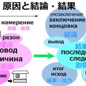 原因・理由と結果・結論に関するロシア語単語