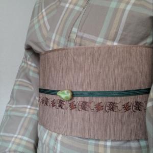 片貝木綿と桐生織半幅帯で