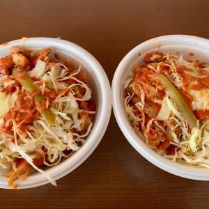 ケバ丼サラダと焼き鳥