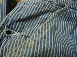 LEE 80年代オーバーオールのホツレと糸切れのリペアー