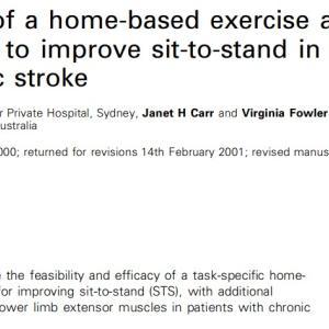 慢性期脳卒中患者のホームエクササイズは立ち上がり・歩行能力を改善させる