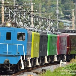 秩父路に電気機関車5重連—5色の車体が12系客車を牽引 7月7日