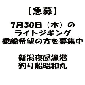 【急募】7月30日(木)ライトジギング4名様募集中|新潟寝屋漁港釣り船昭和丸