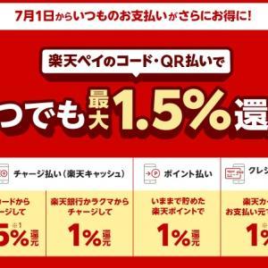 【楽天ペイ】7月1日から最大2.5%還元で利用するために知っておくこと