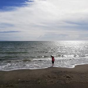 学校帰ったら海へ…砂浜には青と白の丸いヤツがいっぱい?!