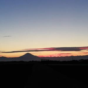 夕暮れ時の富士の影と送電線