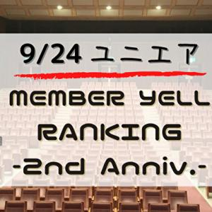 【ユニエア2周年】限定グッズ獲得のチャンス!9/24より「2nd ANNIV. MEMBER YELL RANKING」