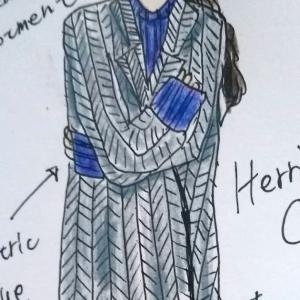 ヘリンボーンツイードのコート