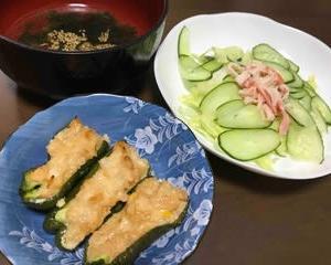 今日の晩ご飯(503):ツナマヨ詰めピーマン