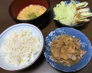 今日の晩ご飯(502):ブタ生姜焼き