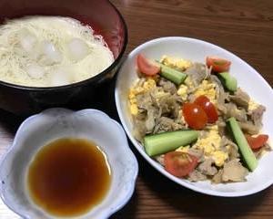 今日の晩ご飯(506):舞茸と牛肉のマヨネーズ炒め