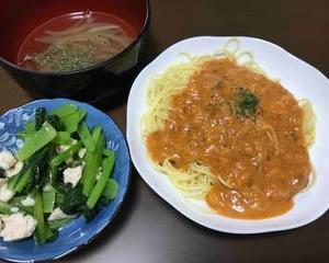 今日の晩ご飯(510):かに缶のクリームパスタ