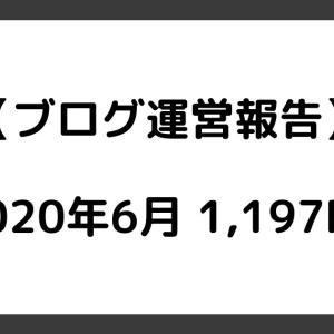 【ブログ運営報告】2020年6月は1,197PV!