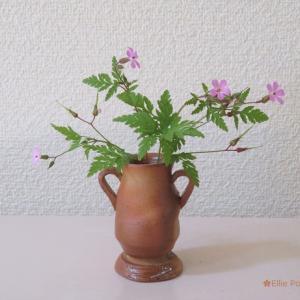 花入れ ヒメフウロ Vase, and Geranium robertianum