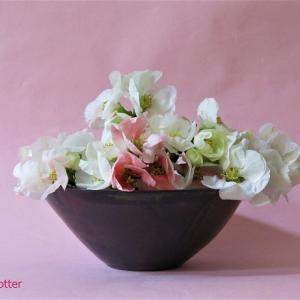 花器 ぼけ Vase, and Chaenomeles speciosa