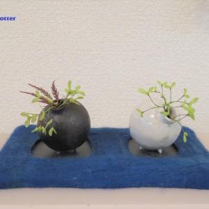 花入れ 紅しだれ Vase, and Weepingmaple
