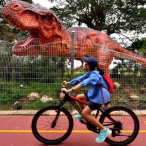 チャンギ空港から3.5KMの道が完成、道中に恐竜の飾りも。