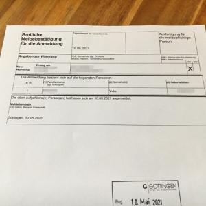 ゲッティンゲンでの住民登録