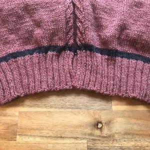 裾のゴム編みが終わりました 〜ひざ丈ロングカーディガン