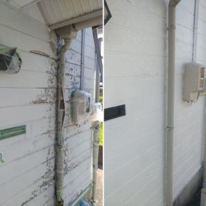 窯業系サイディングボードの外壁塗装④:上塗り完了。かかった費用は約26,556円