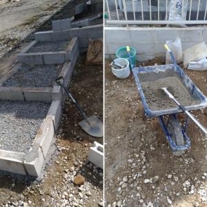 ブロックを使った階段作り②:コンクリートの流し込みと表面の仕上げ方