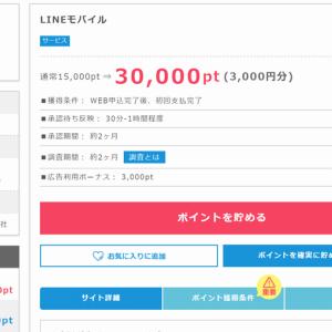 【LINE@ラインモバイル】をポイントサイト経由して3000円のお小遣い稼ぎ!
