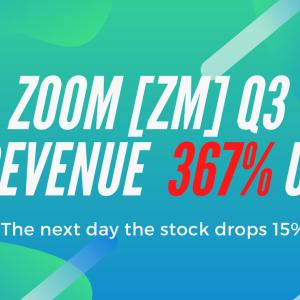 ZOOM 【ZM】第3四半期決算売上が+367% | 株価は大暴落