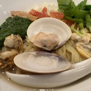 恵比寿「つなぎ」3種の貝鮮まぜ麺~ゆず山葵添えて~