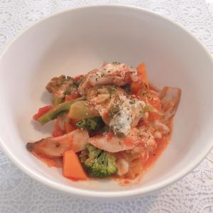 【食事制限レシピ】鶏モモと野菜とキノコのトマト煮☆