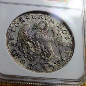 1756年銘スイスバーゼルの都市景観ターラー銀貨