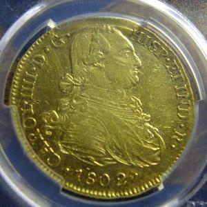 第25回オークションワールドの落札品が到着(1802年8エスクード金貨)