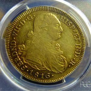 第25回オークションワールドの落札品が到着②(1816年8エスクード金貨)