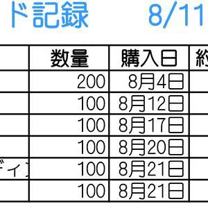 【株】8/11~8/21のトレード記録