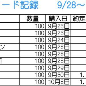 【株】9/28~10/9のトレード記録