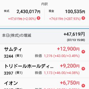 7月13日 本日の個人収支プラス122238