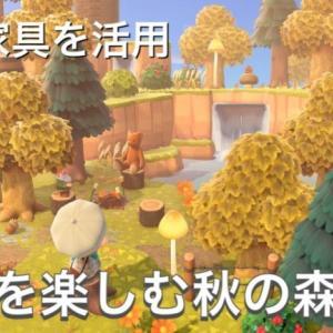 【あつ森】きのみ・きのこ・もみじ家具を活用して、紅葉を楽しむ秋の森をつくる